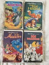 4 Black Diamond Disney Vhs Tapes Jungle Book Fox & Hound Aladdin 101 Dalmatians