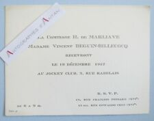 Comtesse de MARLIAVE & BEGUIN BILLECOCQ 1957 Jockey Club Carton invitation Stern