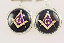 Masonic Cufflinks Coloured Enamel With Solid Silver Hallmarked