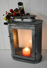 Hunters Candle Lantern Oval shape Zinc dipped iron finish 40x30x13cm