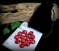 13 Witches Runes with Bag Red and Silver Witch Wicca Pagan Divination Gift