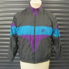Nike Vintage 1990s 00s Shellsuit Top Track Jacket Glossy Black Multicolour M Men