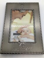"""Burnes """"Bless this Child"""" Pewter Tone 4X6 Picture Frame Christening Baptism"""