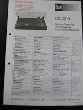 Original Service Manual Service Anleitung DUAL CS 2210