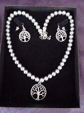 Tree of Life Grey Glass Pearl Set