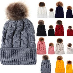 Women Mom Baby Cable Crochet Knit Beanie Hat Fur Pom Pom Bobble Warm Cap Hats