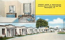 Linen Roadside Multiview Postcard Streid's Motel Bloomington IL Route 66