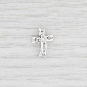 0.15ctw Diamond Cross Pendant 10k White Gold Floating Religious Jewelry
