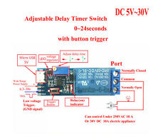 DC 5V 12V 24V Trigger Delay Time Turn on Switch Timer Board Relay Module 0-24s