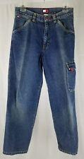 Tommy Hilfiger Boys 16 Blue Denim Red Stitching Tab Pocket Highlight Cargo Jeans