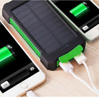 New Waterproof 50000mAh Power Bank Case 2 USB Solar Charger Case+LED No Battery