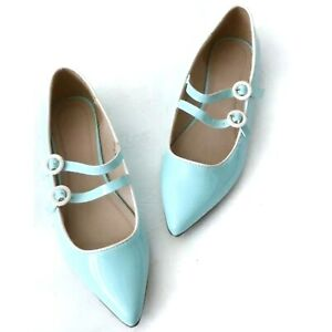 ASOS Blue Patent Pointed Toe Flats Double Buckle Retro Pin Up UK SZ 6 (US )