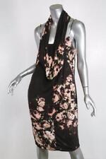 PAUL SMITH Womens Black-Multi Floral Cowl-Neck Spaghetti-Strap Summer Dress L