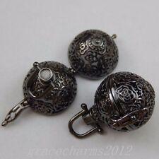 2pcs Gun Black Floral Ball Lockets Pendant Charms Jewelry 27x24x20mm 39818