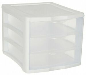 Sterilite CLEARVIEW 3-DRAWER UNIT 28x34x24cm Integrated Lip, Transparent