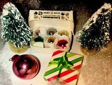 Vintage Shiny Brite 6 Tiny Dollhouse Christmas Bulbs In Box + 32 Bonus Bulbs