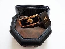 NEW STEFANO RICCI Blue Crocodile Leather Big Rectangular Buckle Belt 34 US 85 CM