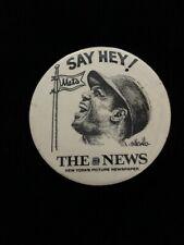 """Vintage Baseball Memorabilia Willie Mays """"Say Hey!� Mets Pin"""