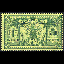 NEW HEBRIDES 1911 5s Green on Yellow. SG 28. Mint. Gum Wrinkles. (AR352)