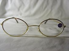 BRAND NEW Pair GOLD Metal Frame Reading Glasses +1.00 Small Oval Shape READERS