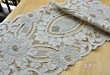 """Amazing Beige Grey HAND Embroidered Cotton Table Runner Doily 33x16"""" Collectible"""