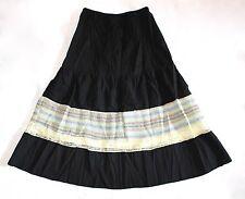 CUSTO BARCELONA Black Lace Embroidered Peasant Boho Skirt 2 NWT