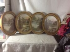 Vintage Collectible Set of 2 Homco Oval Gold Tone Home on Water Scenes Picture