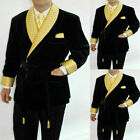 Men Black Smoking Jacket Velvet Robe With Belt Shawl Lapel Formal Wedding Tuxedo