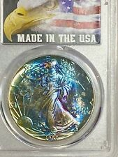 1987 America Silver Eagle Dollar $1 PCGS MS67 1oz Silver MONSTER TONED