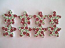 8 x 25mm STAR Shape Wooden Buttons -Flower Design - 2 Holes - No.979