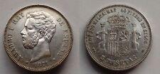 SPAIN COIN AMADEO I 5 PESETAS 1871 *18*75 DE-M PLATA SILVER ORIGINAL R5859