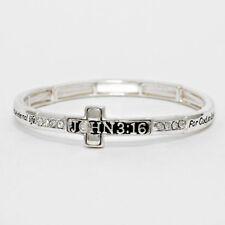 John 3:16 Bracelet Engraved Prayer For God So Loved World Side Cross Stretch