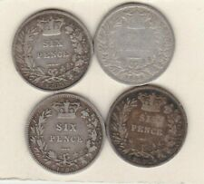 More details for four 1844/1853/1865 die 12 & 1880 victoria sixpences used or better condition