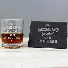 "Personalised ""The Worlds Greatest"" Whisky Tumbler & Slate Coaster Set - For Him"
