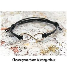 Wish Bracelet, Anklet, Friendship, Choice of Charms & String Colours Adjustable