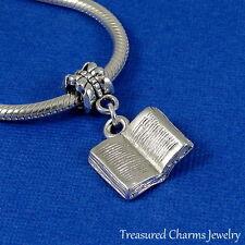 Silver OPEN BOOK Dangle Bead CHARM 3D Literary Reading fits EUROPEAN Bracelet