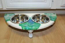 Raised Dog-Cat Feeding Table with 1pt Bowls - Green & White & Blue