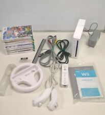 Wii Bundle Incl White Console, 8 Games, Controllers, Grips, Steering Wheel #178