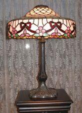 ELEGANT CHICAGO MOSAIC LAMP SIGNED LEADED GLASS ORIGINAL FISH SCALE SHADE