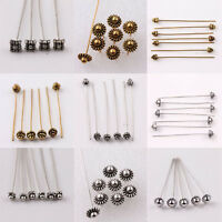 Lots 20Pcs Silver Gold Plated Metal Head/Crown/Ball Pins For Craft Finding 50mm