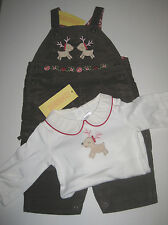 NWT Gymboree COLORFUL VILLAGE Reindeer Bodysuit One piece Corduroy Overalls 3 6