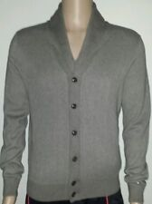 NEW MEN'S TOMMY HILFIGER SHAWL V-NECK FLEECE SWEATER ZIP BUTTON BEIGE SZ/M