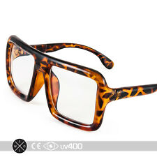 Old School Block Square Retro Hipster Clear Sunglasses Glasses Tortoise DJ S057