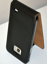 Black Slim Genuine Leather Real Leather Case Cover for Samsung Galaxy S2 i9100