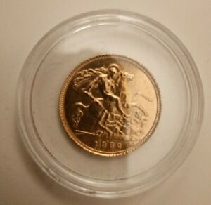 1982 Solid 22ct Gold 1/2 Half Sovereign Coin in Capsule
