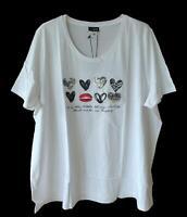 NEU Übergröße schickes Damen Kurzarm Shirt weiß mit Pailletten Motiv Gr.58,60,62