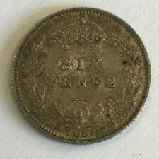 Antique Victoria Victorian Jubilee Head 1887 Silver Sixpence Coin