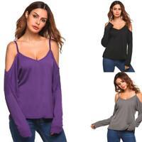Women Cold Shoulder V-Neck Batwing Sleeve Solid Irregular Casual T-Shirt EHE8 01