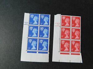 "GB - SCOTLAND 1974 "" MACHIN DEFINS. 3p & 8p C/trol No. Blks 6 "" U/M SG.S16 & S26"