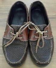 TOMMY BAHAMA Mens 8M Lace Up Brown Leather Weave Loafers Shoes